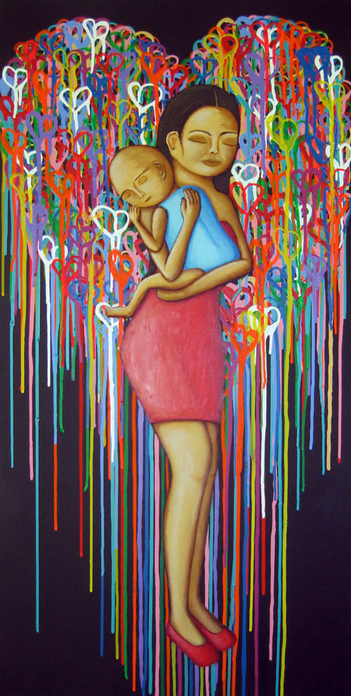 Mother's Love - Painting by Waleska Nomura.