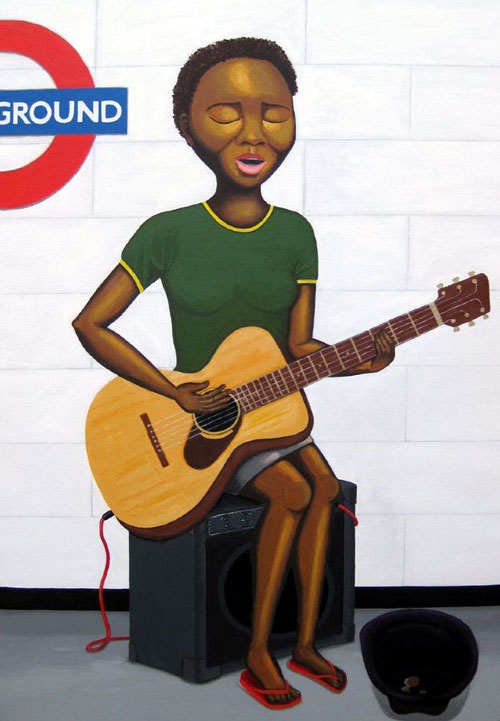 The Busker - Painting by Waleska Nomura