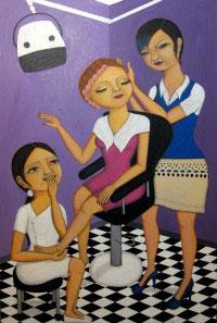 The Hair Salon- Painting by Waleska Nomura