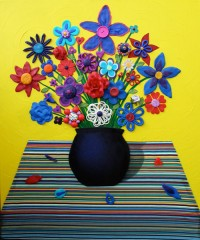 Still Life Yellow - Painting by Waleska Nomura.