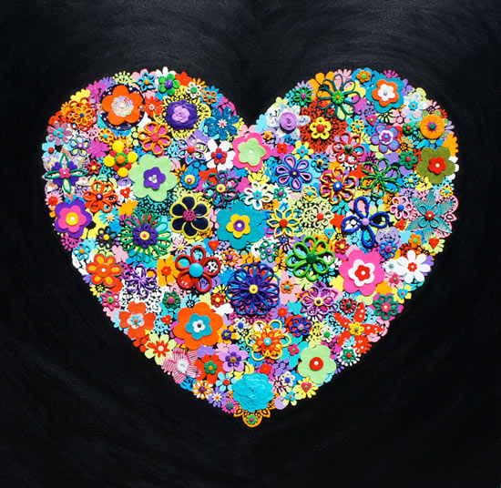 Black Flower Heart - Painting by Waleska Nomura