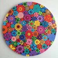 Circle of Flowers - Painting by Waleska Nomura