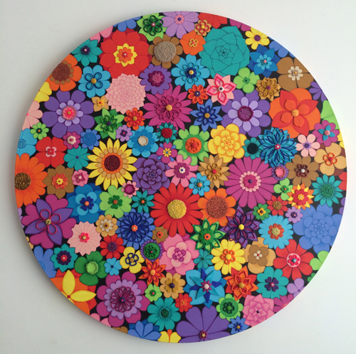 Circle of Flowers - Painting by Waleska Nomura