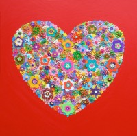 Red Heart - Painting by Waleska Nomura