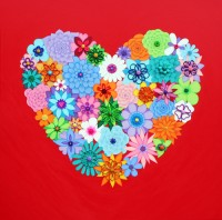 Red Flower Heart 2 - Painting by Waleska Nomura.