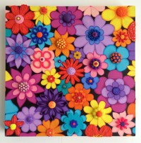 Flowers (Small Square) - Painting by Waleska Nomura.