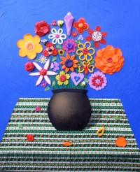 Still Life Blue - Painting by Waleska Nomura.